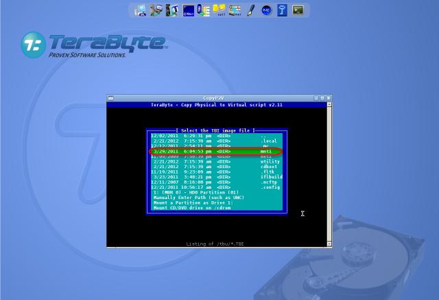 Výber lokality s C-Image zálohou (moutnutý disk)