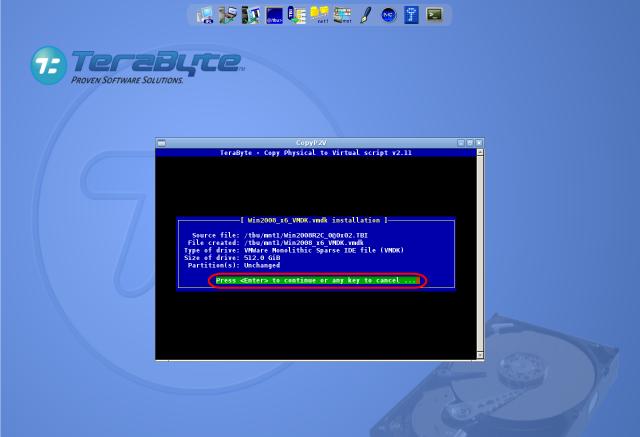 Spustenie koverzie existujúcej C-Image zálohy do formátu .vmdk