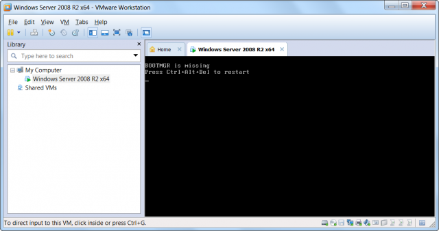 Prvé nabootovanie VM vo WMware Workstation