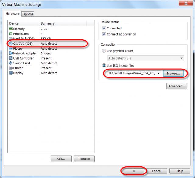 Nastavenie cesty k ISO image Windows 7 x64