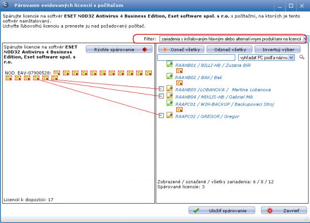 Dialóg k párovaniu evidovaných licencií s nájdeným softvérom na počítačoch. Nad hlavným oknom vpravo je voľba k zobrazeniu všetkých počítačov alebo zariadení