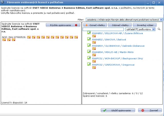 Spárované evidované licencie so všetkými počítačmi, ktoré daný softvér majú už nainštalovaný
