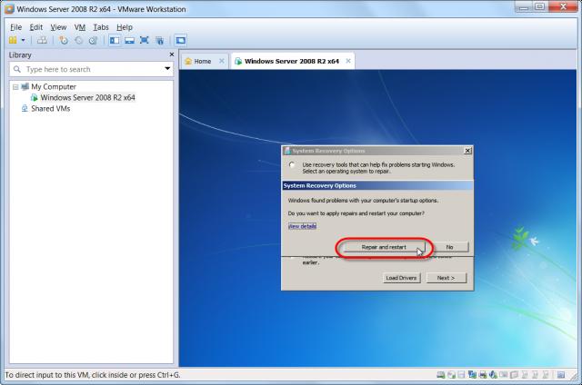 Reštart PC po oprave bootovania, postup treba ešta raz zopakovať