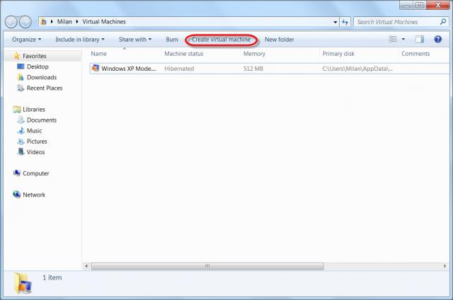 Vytvorenie VM vo Virtual PC