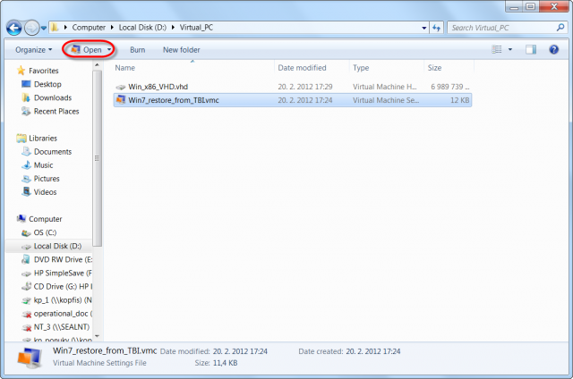 Spustenie našej VM cez Virtual PC