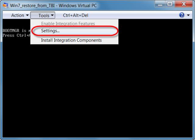 Vstup do nastavení VM vo Virutal PC