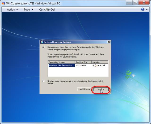 Opätovná oprava bootovania systému z nabootovaného média Windows 7 x32