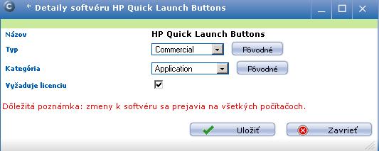 Pôvodné nastavenie zaradenia softvéru
