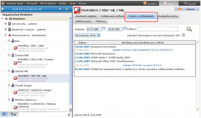 Príklad výpisu zmien inštalácií na jednom PC.