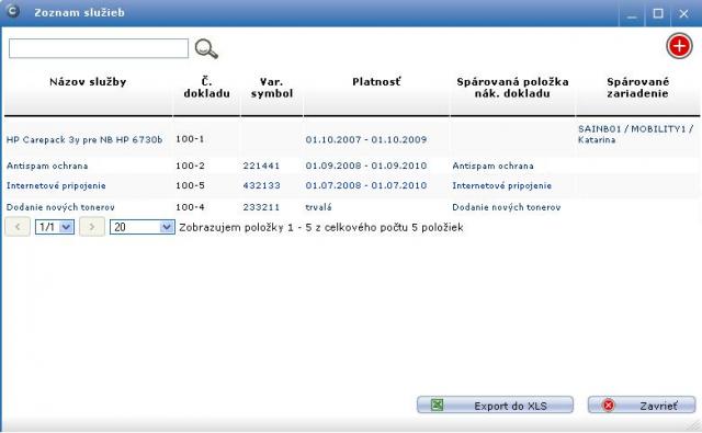 Príklad evidovaných služieb