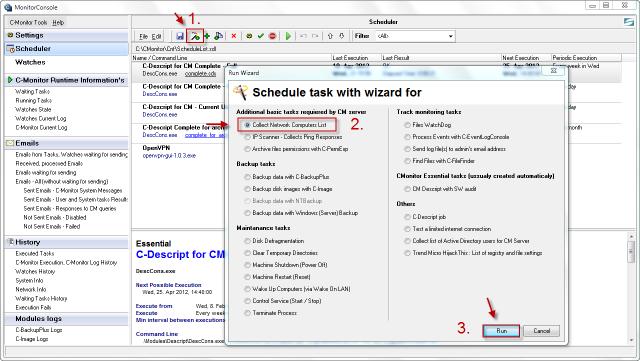 """Vytvorenie novej úlohy v Scheduleri  """"Collect Network Computer List"""""""