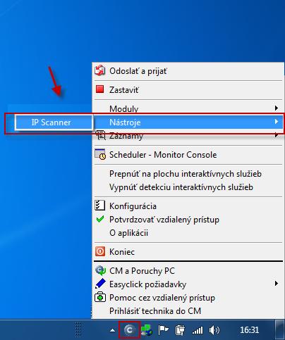 Ručne spustený IPScannera v Tray menu C-Monitora