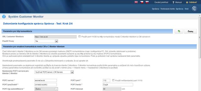 Krok 2 - nastavenie Proxy, POP3 a SMTP serverov