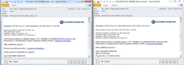Emailové hlásenie po strate a obnovení int.linky