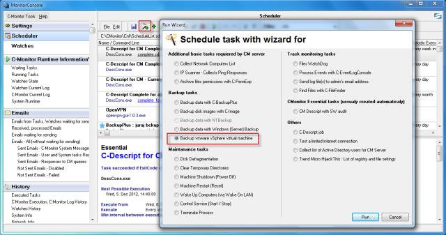 Sprístupnenie vytvorenia naplánovanej úlohy pre C-vmwBackup zálohovanie cez schedulera C-Monitor klienta