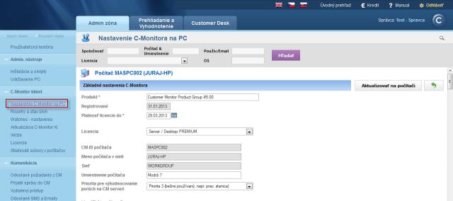 Detail nastavenia C-Monitor klienta na konkrétnom PC