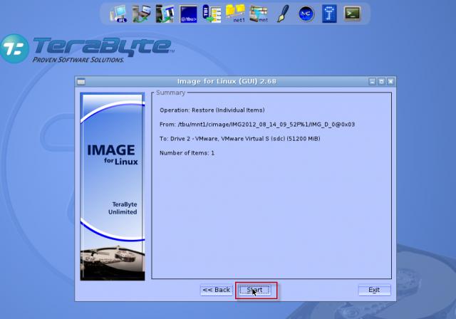 Obnovu disku zo zálohy spustíte kliknutím na tlačidlo štart