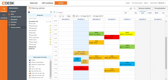 Plánovací kalendár v CDESK
