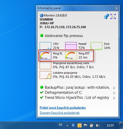 Info panel so zobrazením aktuálneho stavu ping PL, RTT