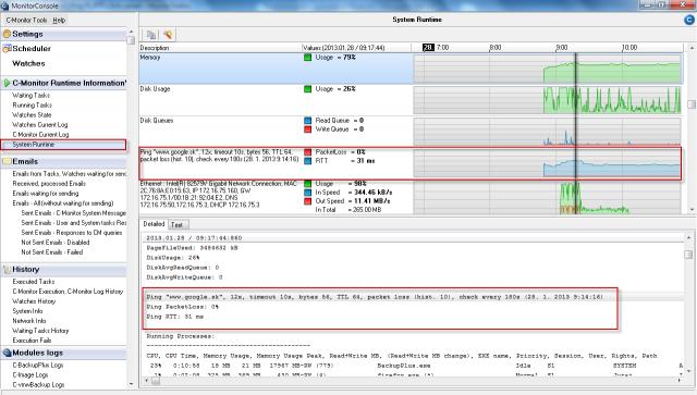 Zobrazenie Ping PL,RTT v časti system runtime