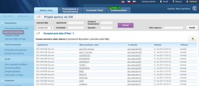 Zobrazenie zoznamu počítačov konkrétnej spoločnosti s možnosťou zobrazenia adresáru s prijatými správami do CM