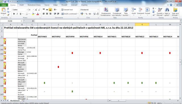 Výstupný report Zoznam inštalovaného licencovaného SW
