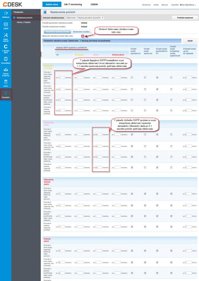 Príklad nastavenia vyhodnocovania poruchy pre zálohovanie C-Backup