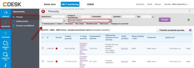 Zobrazenie poruchového stavu pri nevytvorenej úlohe úlohy Permission Explorer (C-PermExp)