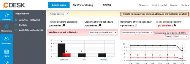 Link v úvodnom prehľade -  jeden zo spôsobov k objednaniu vlastnej domény do prístupovej adresy k CM portálu.
