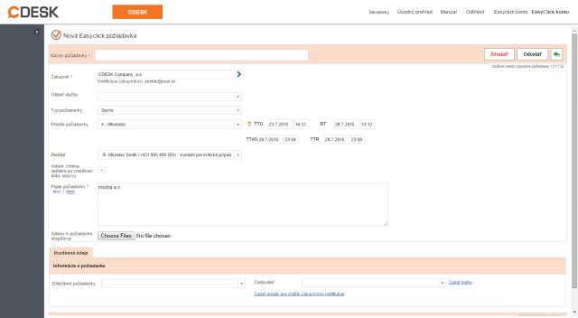 Zobrazenie novej domény pri pridávaní easyclick požiadavky