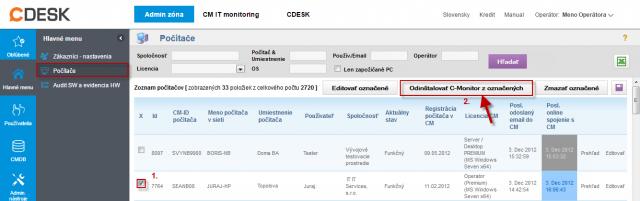 Odinštalácia C-Monitor Windows klienta cez CM portál