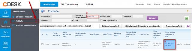Overenie správnej funkčnosti C-Monitor Linux klienta