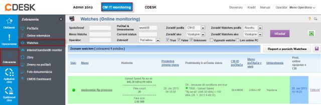 Zobrazenie stavu watchu cez CM portál