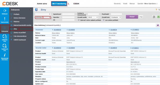 Príklad informácí v CM portáli o antivírusovom softvéri ESET NOD 32 a Microsoft Security Essentials