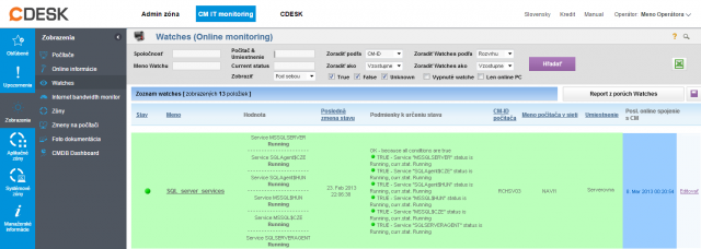 Ukážka zobrazenia stavu služieb v CM Portáli
