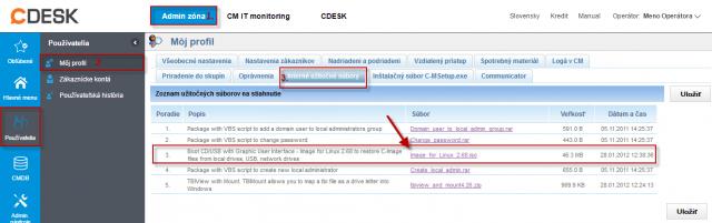 Stiahnutie bootovacieho CD z časti Admin zóna -> Môj profil -> Interné užitočné súbory