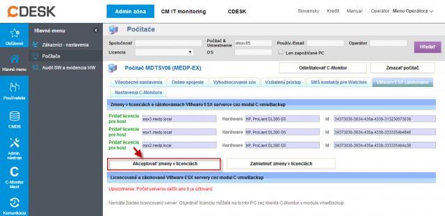 Akceptovanie troch nových licencií pre zálohovanie po prihlásení na CM server
