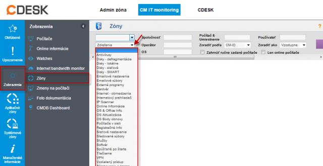 Zozbierané konfig. údaje z PC v časti CM IT monitoring  -> Zobrazenia -> Zóny