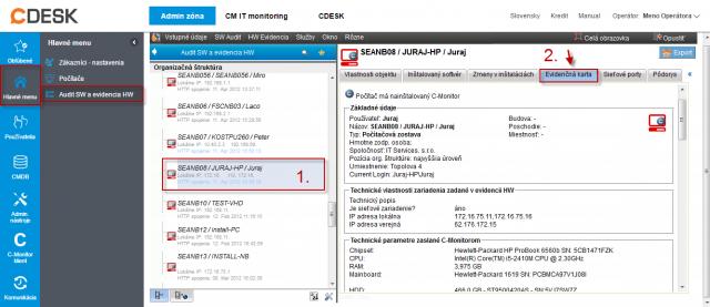 Evidenčná karta zariadenia so zozbieranými informáciami o HW v časti Admin. zóna -> Audit SW a evidencia HW