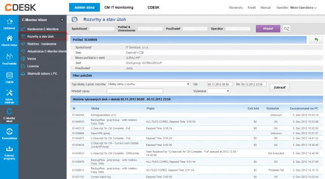 Zobrazenie zoznamu vykonaných úloh cez CM portál