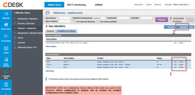 Obrázok: CM Portal - Add Watches Action Step 3
