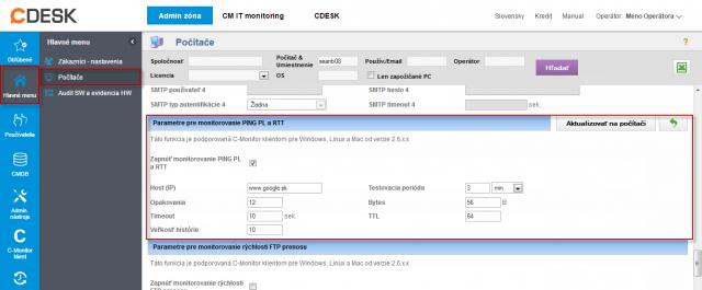 Nastavenie monitoringu Ping PL,RTT v časti Admin zóna -> Počítače -> záložka nastavenie C-Monitora