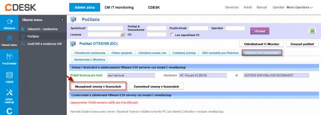 Po prihlásení na CM server kliknete na tlačidlo akceptovať zmeny v licenciách čím sa automaticky vygeneruje licencia pre VMware zálohovanie