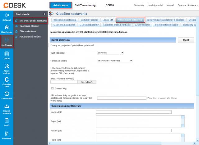 Nastavenie prihlasovacej obrazovky v profile Správcu
