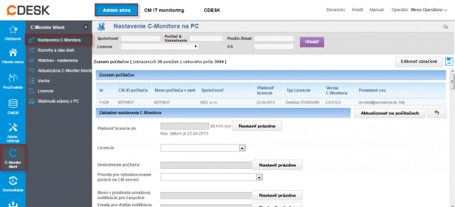 Zmena nastavení C-Monitor klienta v časti Admin zóna  -> C-Monitor klient ->Nastavenia C-Monitor na PC