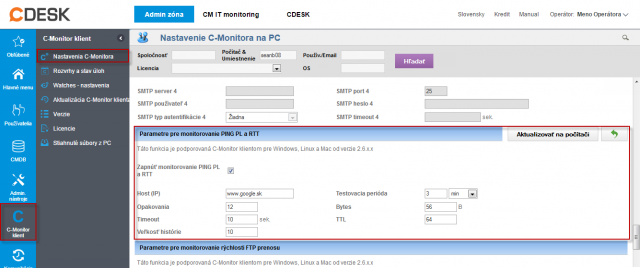 Nastavenie a editácia Ping PL,RTT  pre viacero pc naraz