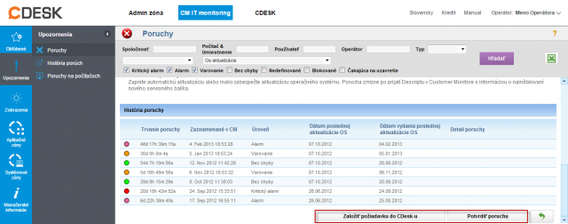 Zobrazenie detailu poruchy z možnosťou potvrdiť poruchu alebo založiť novú C-Desk požiadavku z poruchy
