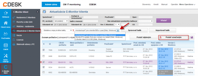 Rozposlanie modulu C-vmwBackup na vybrané zariadenia