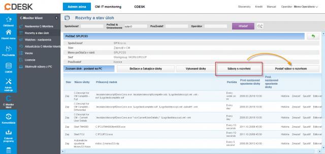Prepnutie do zobrazenia s fyzickými súbormi  (ScheduleList.sdl) v rozvrhu ku konkrétnemu PC na CM portáli