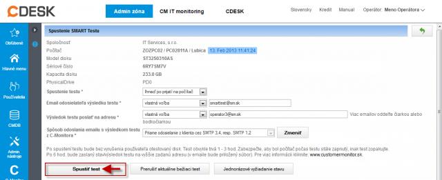 Spustenie vzdialeného testu pevného disku z emailu